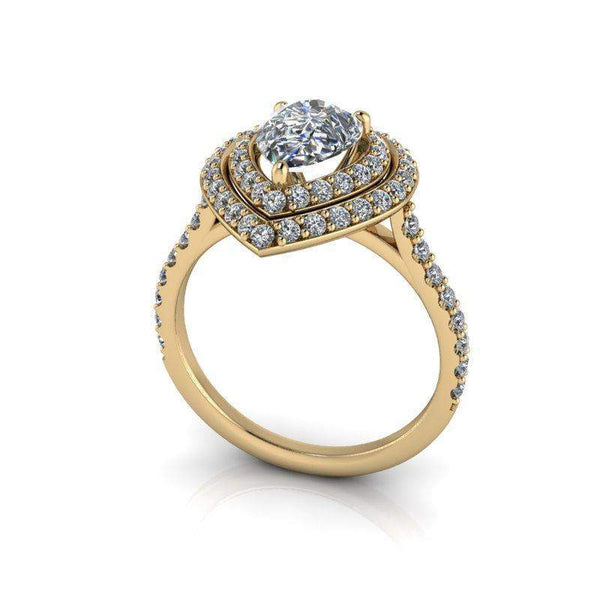 2.15 CTW Pear Shape Forever One Moissanite Double Halo Engagement Ring-Bel Viaggio Designs