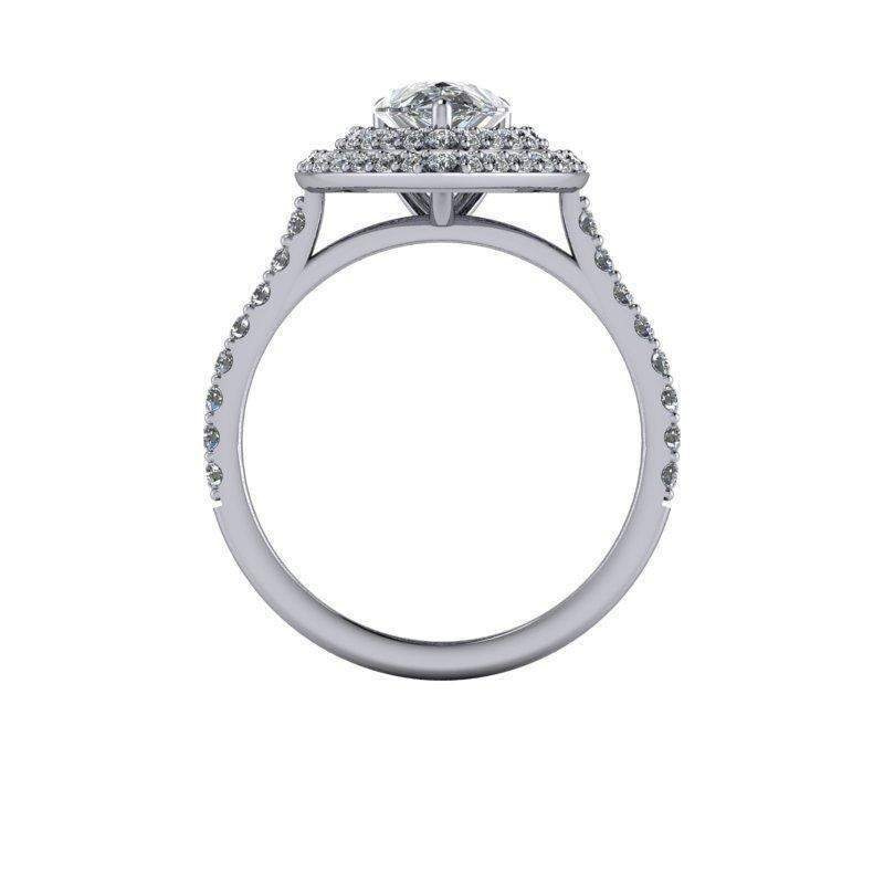 2.15 CTW Pear Shape Forever One Moissanite Double Halo Engagement Ring-BVD