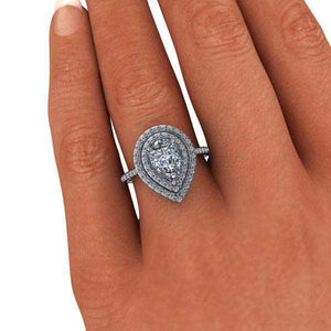 2.15 CTW Pear Shape Forever One Moissanite Double Halo Engagement Ring-Bel Viaggio Designs, LLC