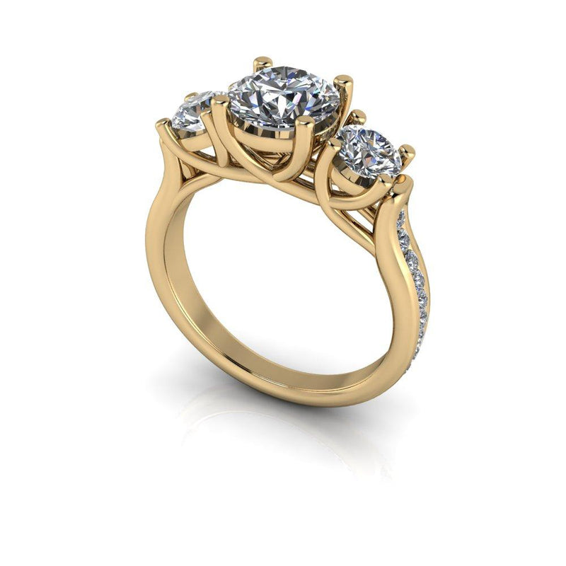 2.16 ctw Charles & Colvard Moissanite Anniversary Ring Round Three Stone Ring-Bel Viaggio Designs