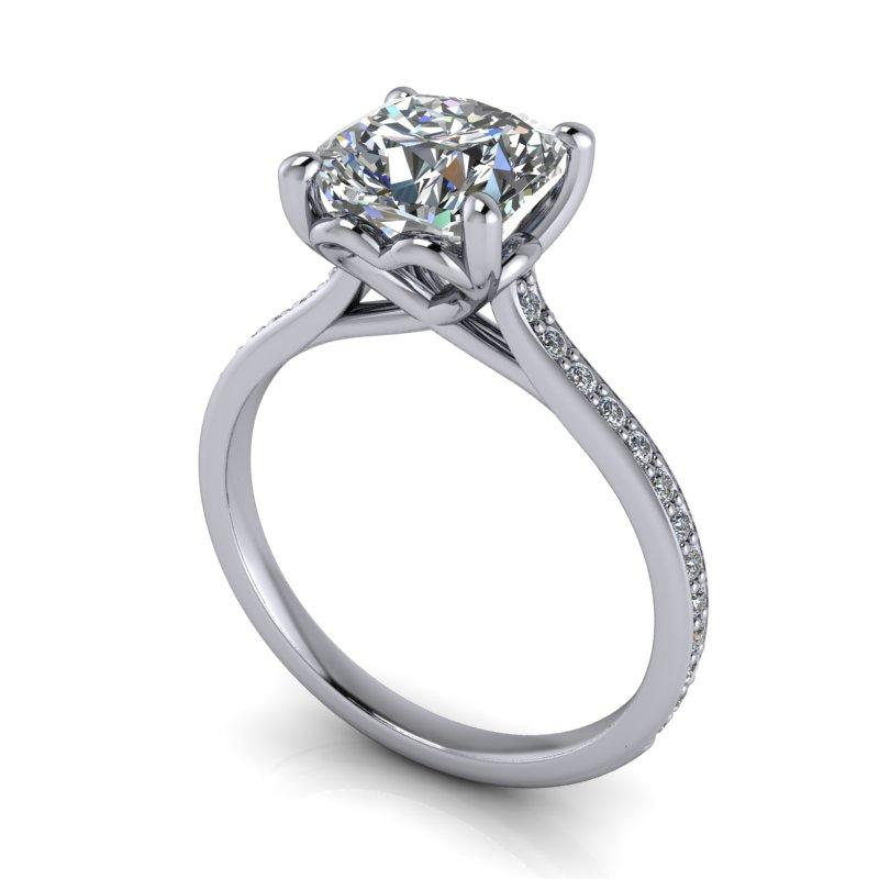 2.16 CTW Forever One Moissanite Cushion Cut Ring-Bel Viaggio Designs