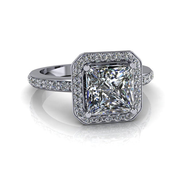 2.18 CTW Princess Cut Moissanite Halo Engagement Ring-Bel Viaggio Designs