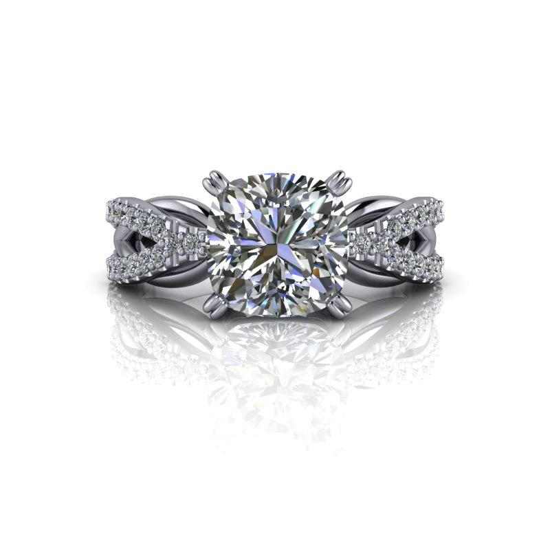 2.23 CTW Cushion Cut Moissanite Engagement Ring, Split Shank Ring-Bel Viaggio Designs