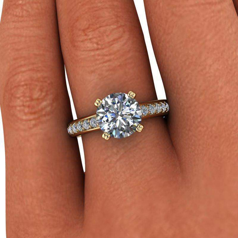2.23 CTW Euro Shank Round Moissanite Engagement Ring-BVD