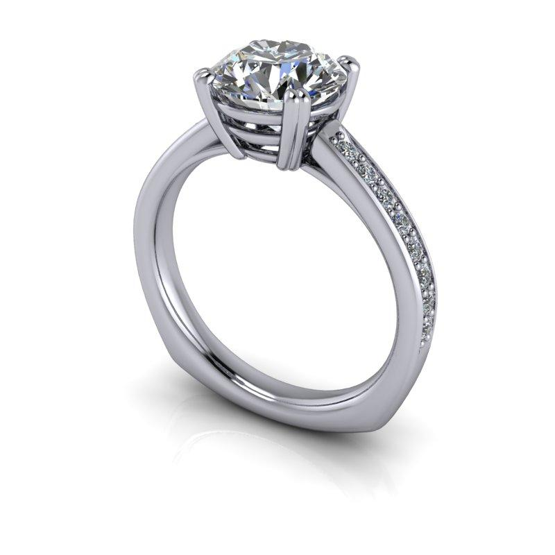 2.23 CTW Euro Shank Round Colorless Moissanite Engagement Ring-Bel Viaggio Designs