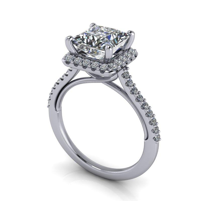 2.23 CTW Princess Cut Forever One Moissanite Halo Engagement Ring-Bel Viaggio Designs