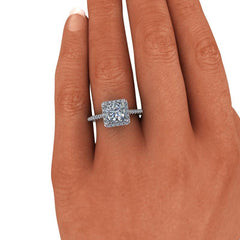 2.23 CTW Princess Cut Forever One Moissanite Halo Engagement Ring-Bel Viaggio Designs, LLC