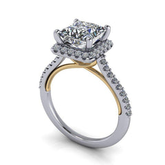 2.23 CTW Princess Cut Forever One Moissanite Halo Engagement Ring-BVD