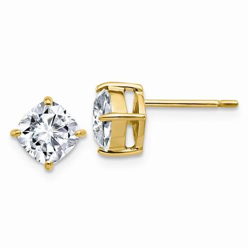 2.25 CTW Cushion Cut Moissanite Stud Earrings, DEF Color-Bel Viaggio Designs