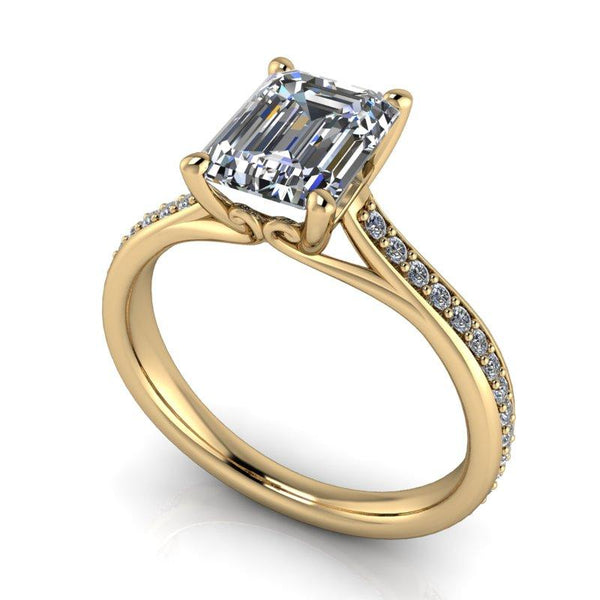 2.25 CTW Forever One Moissanite & Diamond Bridal Set Emerald Cut Engagement Ring-Bel Viaggio Designs