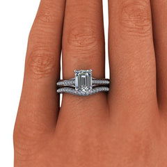 2.25 CTW Forever One Moissanite Bridal Set Emerald Cut Engagement Ring-BVD