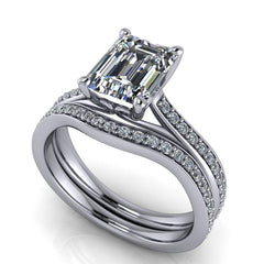 2.25 CTW Forever One Moissanite Bridal Set Emerald Cut Engagement Ring-Bel Viaggio Designs, LLC