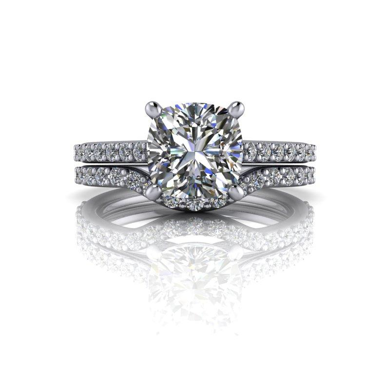 2.25 CTW Forever One Moissanite Cathedral Engagement Ring/Bridal Set-Bel Viaggio Designs