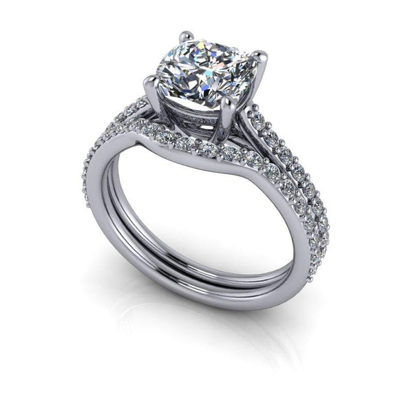 2.25 CTW Forever One Moissanite Cathedral Engagement Ring/Bridal Set-BVD