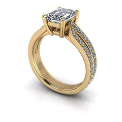 2.26 CWT Emerald Cut Colorless Moissanite Split Shank Engagement Ring-Celestial Premier-Bel Viaggio Designs-Bel Viaggio®