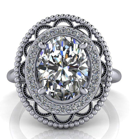 2.27 CTW Antique Style Oval Forever One Moissanite Halo Engagement Ring-Bel Viaggio Designs, LLC