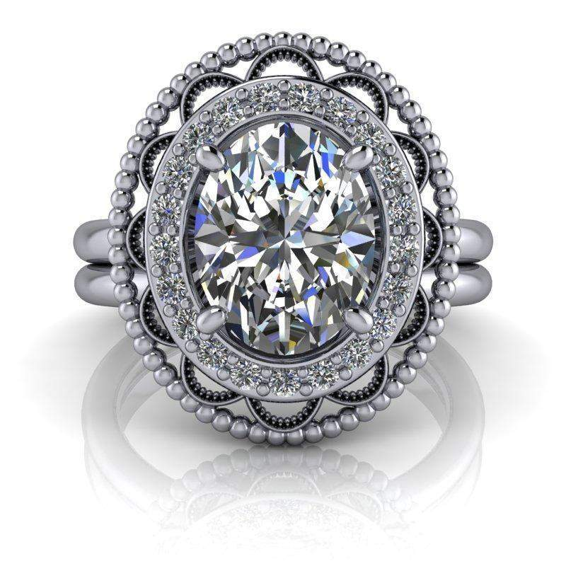 2.27 CTW Bridal Set Antique Style Oval Forever One Moissanite Ring-Stacy K-Bel Viaggio Designs-Bel Viaggio®