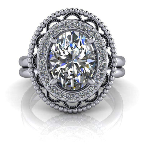2.27 CTW Bridal Set Antique Style Oval Forever One Moissanite Ring-BVD