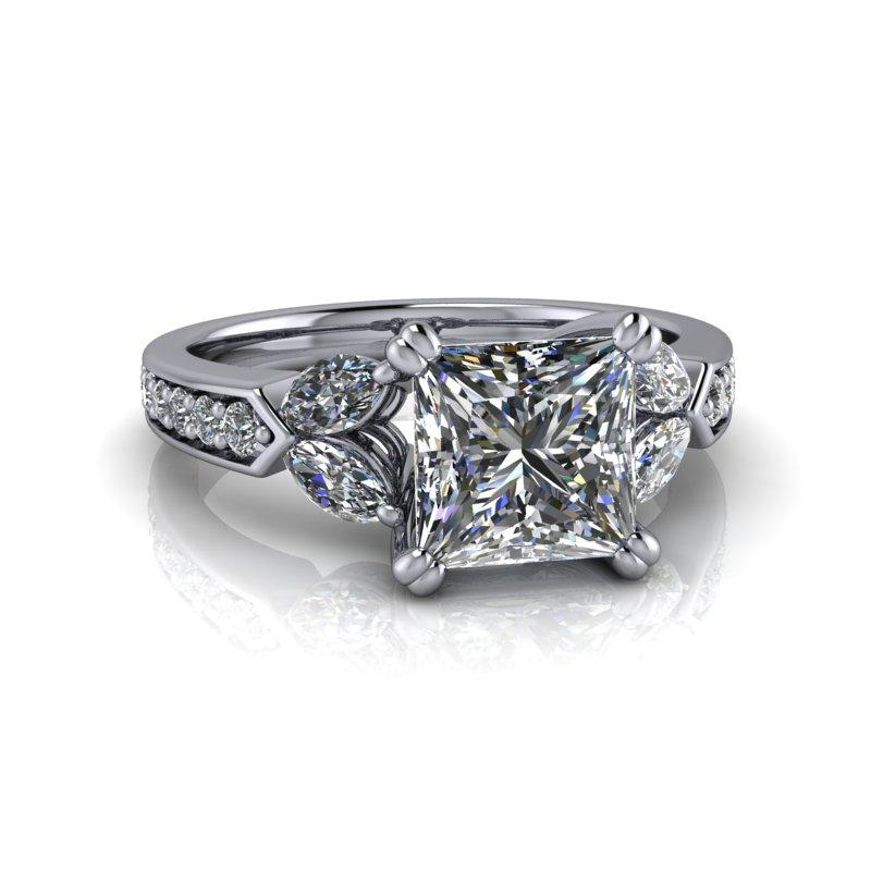 2.50 CTW Marquise and Princess Cut Forever One Moissanite Engagement Ring-Bel Viaggio Designs