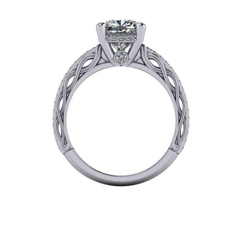 2.28 CTW Vintage Style Cushion Cut Moissanite & Diamond Engagement Ring-Bel Viaggio Designs