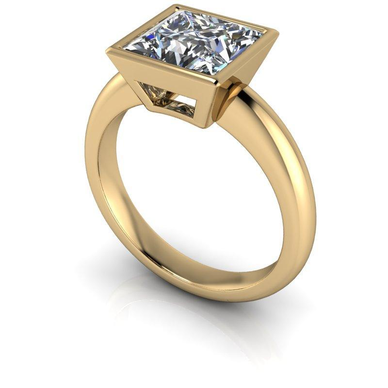 2.30 CTW Bezel Set Solitaire Ring, Princess Cut Forever One Moissanite-BVD
