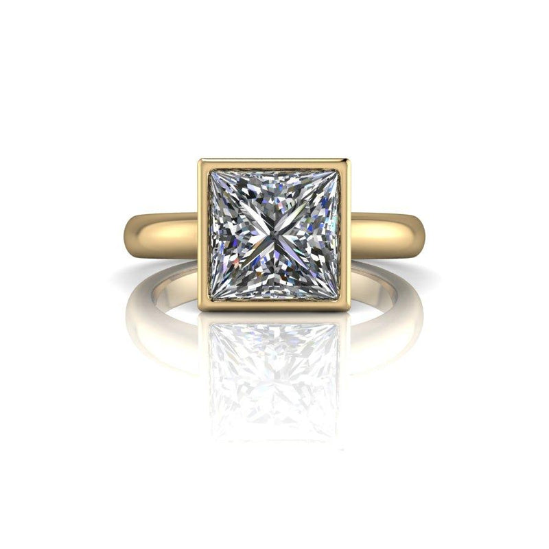 2.30 CTW Bezel Set Solitaire Ring, Princess Cut Forever One Moissanite-Bel Viaggio Designs