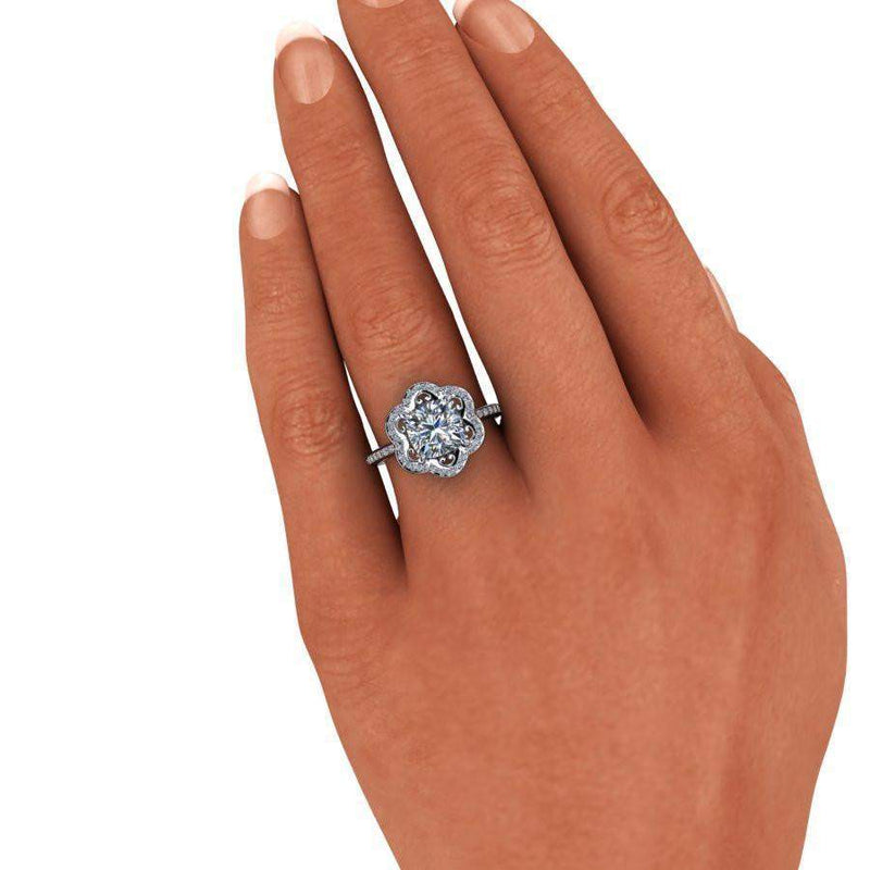 2.30 CTW Flower Style Cushion Cut Forever One Moissanite Engagement Ring-Bel Viaggio Designs