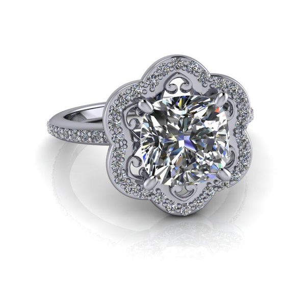 2.30 CTW Flower Style Moissanite Engagement Ring-Bel Viaggio Designs