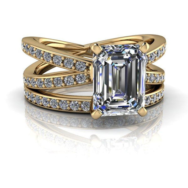 2.30 CTW Forever One Bridal Set - Split Shank Emerald Cut Moissanite Engagement Ring-Bel Viaggio Designs