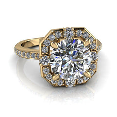 2.30 CTW Forever One Moissanite Halo Engagement Ring Round Stone-BVD