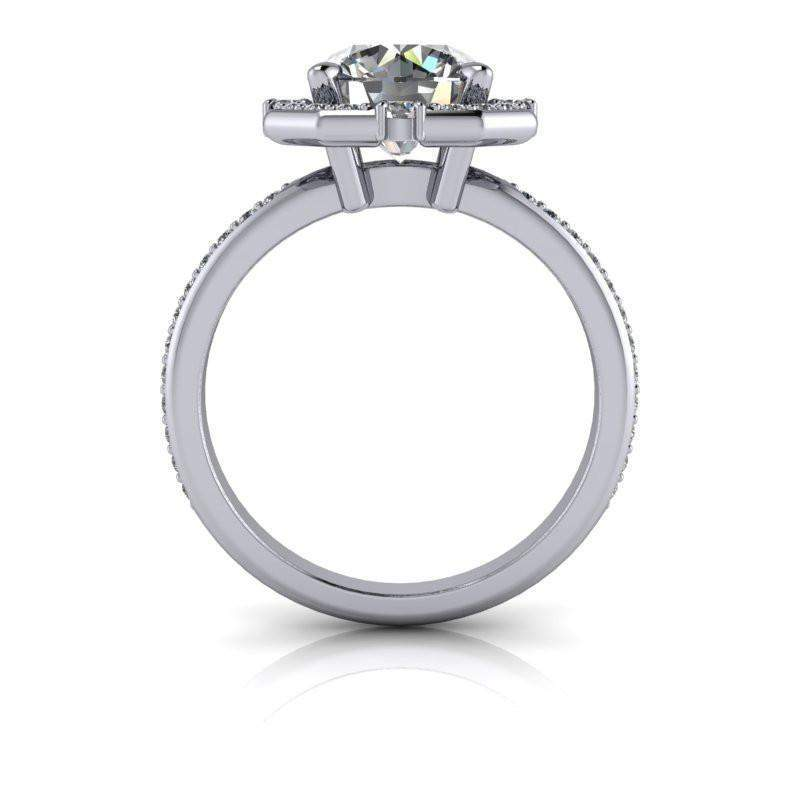 2.30 CTW Forever One Moissanite Halo Engagement Ring Round Stone-Bel Viaggio Designs