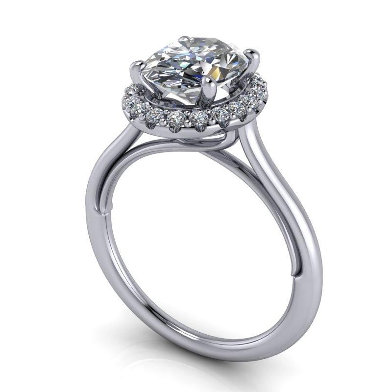 2.30 CTW Halo Engagement Ring, Oval Forever One Moissanite-Bel Viaggio Designs