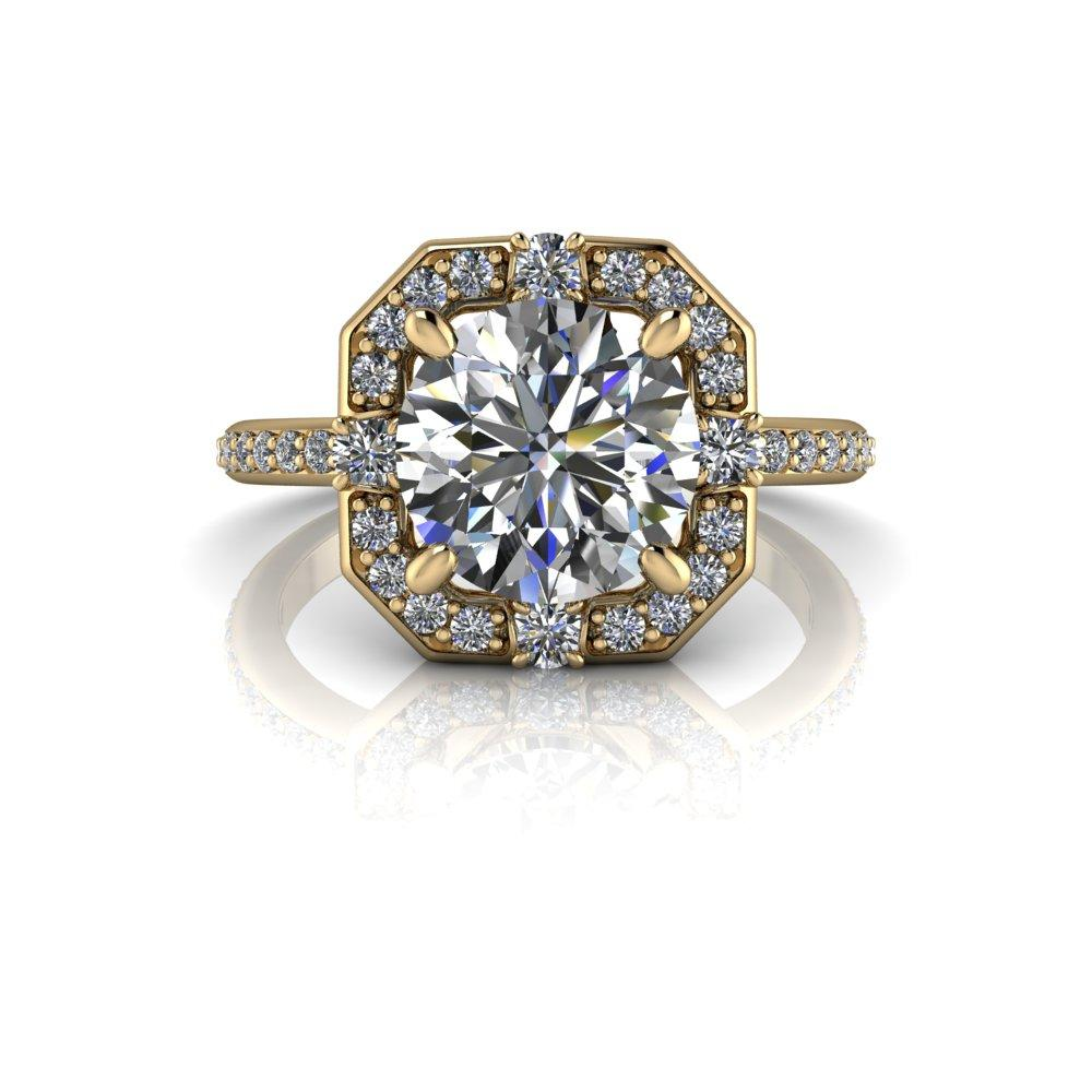 2.30 CTW Moissanite Halo Engagement Ring Round Stone-Bel Viaggio Designs, LLC