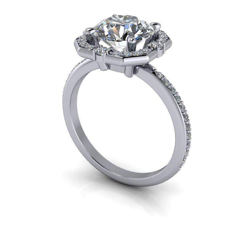 2.30 CTW Moissanite Halo Engagement Ring Round Stone-Bel Viaggio Designs