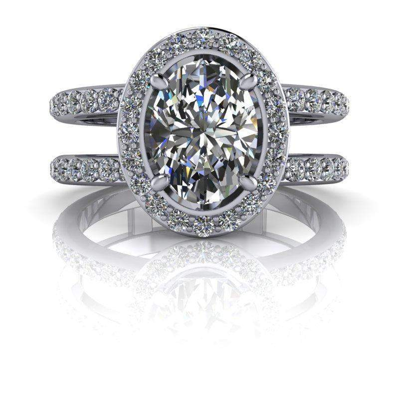 2.30 CTW Moissanite Ring Negative Space Ring - Oval Split Shank Halo Engagement Ring-Bel Viaggio Designs, LLC