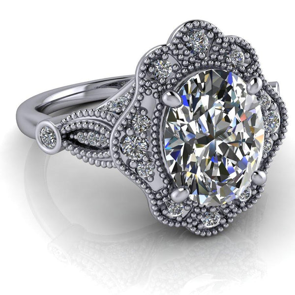 2.30 ctw Oval Forever One Moissanite Vintage Style Halo Engagement Ring-Bel Viaggio Designs