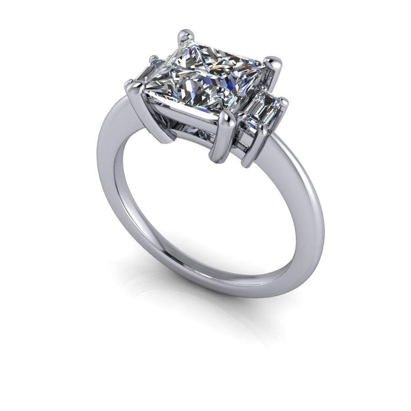 2.30 CTW Princess Cut Moissanite Three Stone Anniversary Ring, DEF Color-Bel Viaggio Designs