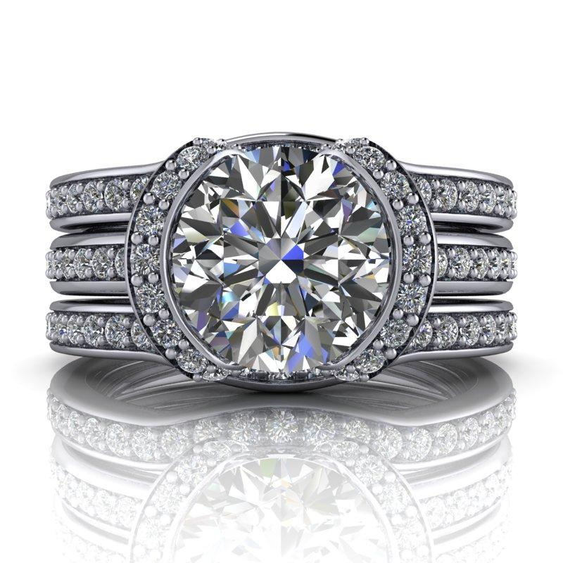 2.30 CTW Round Forever One Moissanite Unique Bridal Set - Dual Wedding Bands-BVD