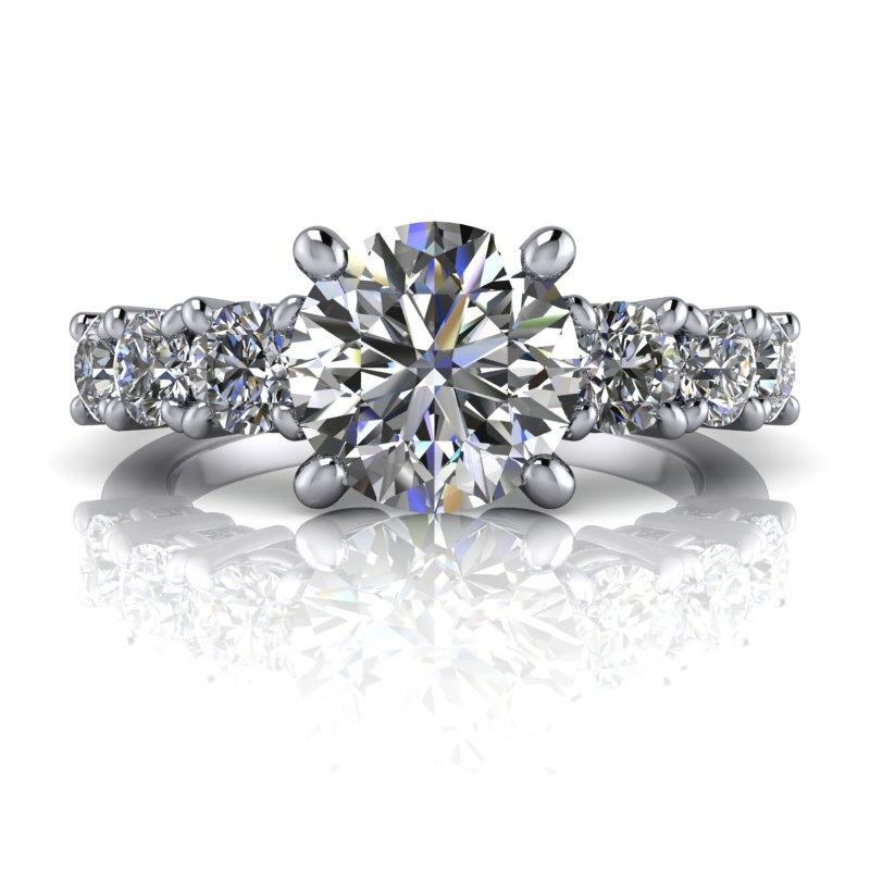 2.30 CTW Seven Stone Moissanite Anniversary Ring, DEF Color Moissanite Ring-Bel Viaggio Designs