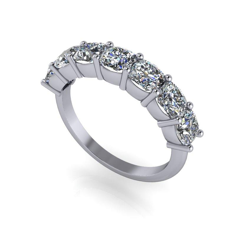 2.31 CTW Cushion Cut Moissanite Anniversary Ring-Bel Viaggio Designs