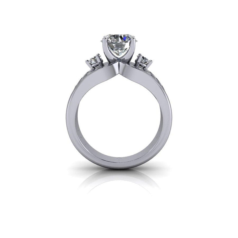 2.31 ctw Moissanite Three Stone Split Shank Engagement Ring-Bel Viaggio Designs