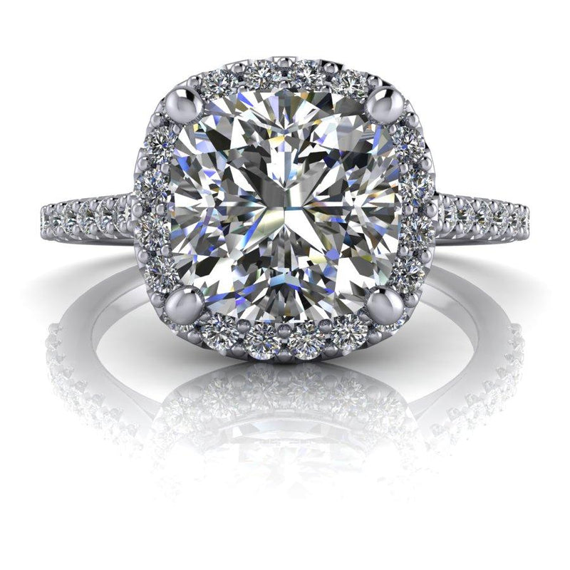 2.31 CTW Vintage Style Ring Charles & Colvard Moissanite Halo Engagement Ring-Bel Viaggio Designs
