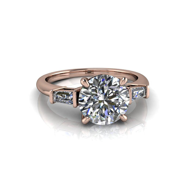 2.32 CTW Forever One Moissanite Round & Baguette Three Stone Engagement Ring-Bel Viaggio Designs