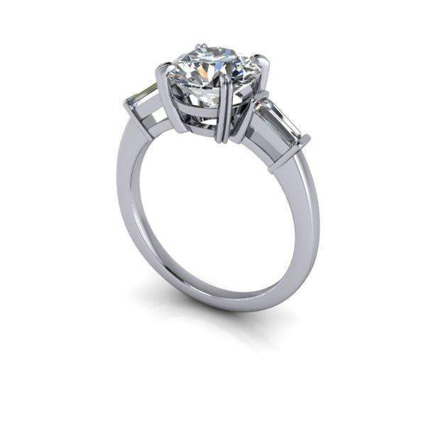 2.32 CTW Forever One Moissanite Round & Baguette Three Stone Engagement Ring-BVD