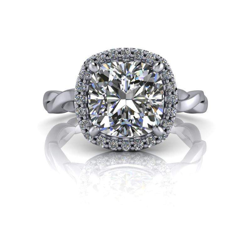 2.32 CTW Moissanite Bridal Set - Cushion Cut Moissanite Halo Engagement Ring-BVD