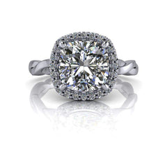 2.32 CTW Moissanite Bridal Set - Cushion Cut Moissanite Halo Engagement Ring-Celestial Premier-Bel Viaggio Designs-Bel Viaggio®