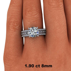 2.32 CTW Unique Round Forever One Moissanite Engagement Ring, Center Stone Options-Bel Viaggio Designs, LLC