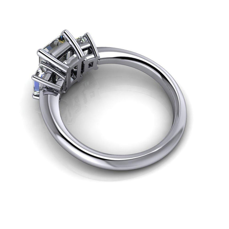 2.35 CTW Emerald Cut Colorless Moissanite Three Stone Engagement Ring-Bel Viaggio Designs