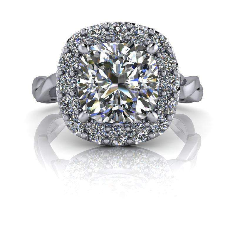 2.35 CTW Forever One Moissanite Cushion Cut Halo Engagement Ring-Bel Viaggio Designs