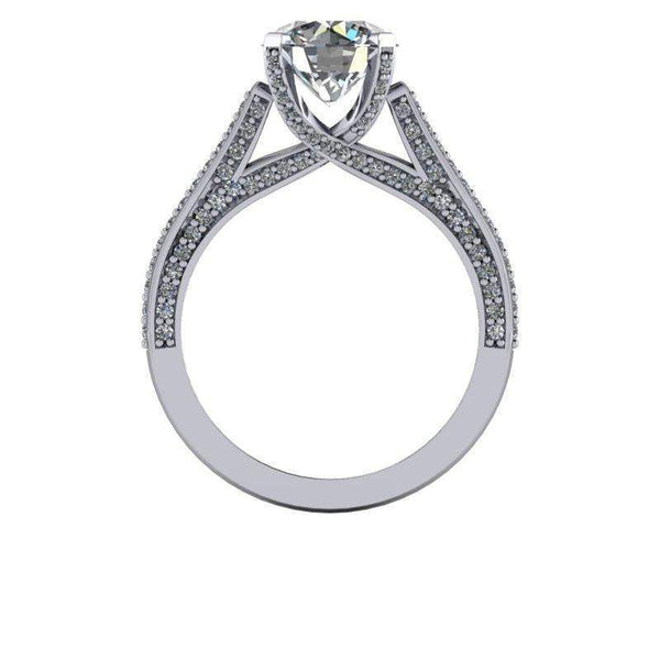 2.35 CTW Diamond Accented Colorless Moissanite Engagement Ring Round-BVD